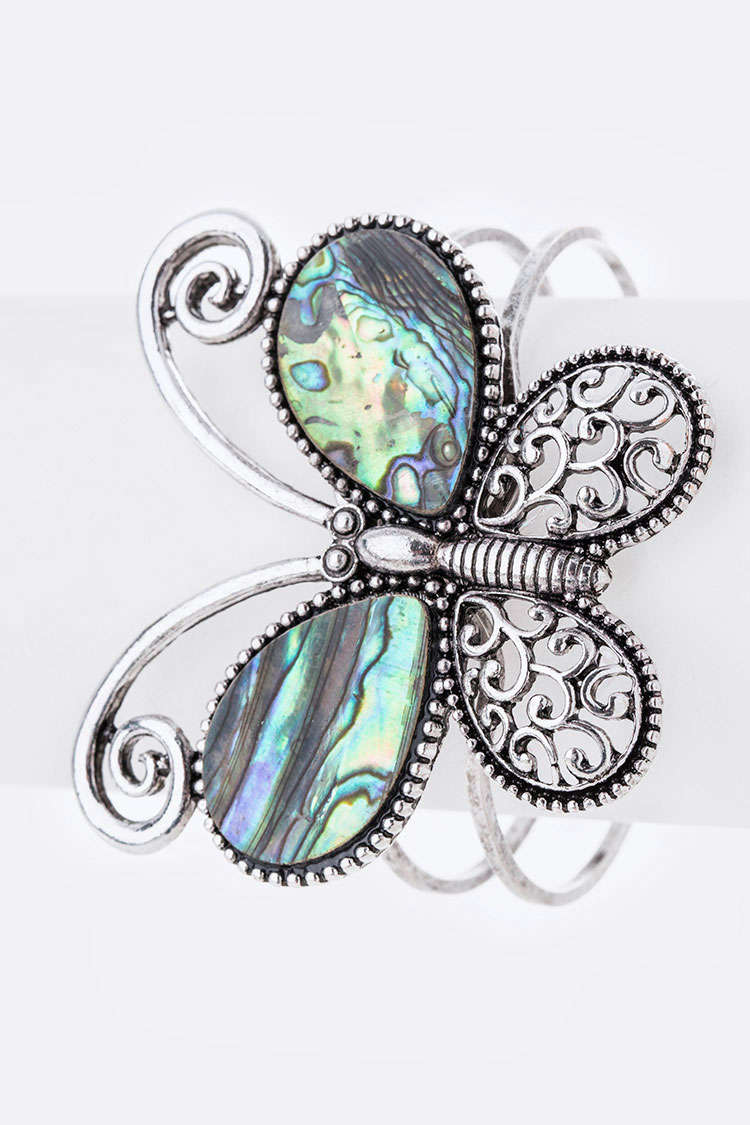Abalone Butterfly Bangle