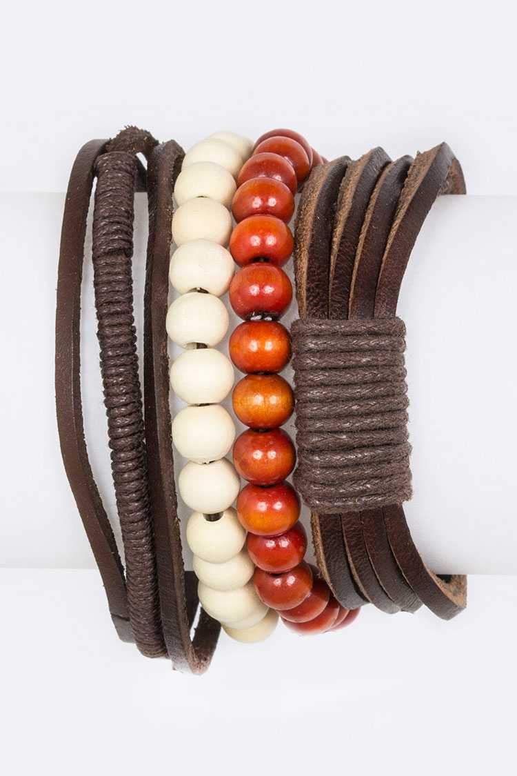 Mix Beads Leather Layered Bracelet Set