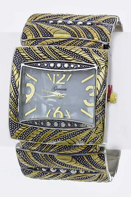 Mix Textured Square Bangle Watch