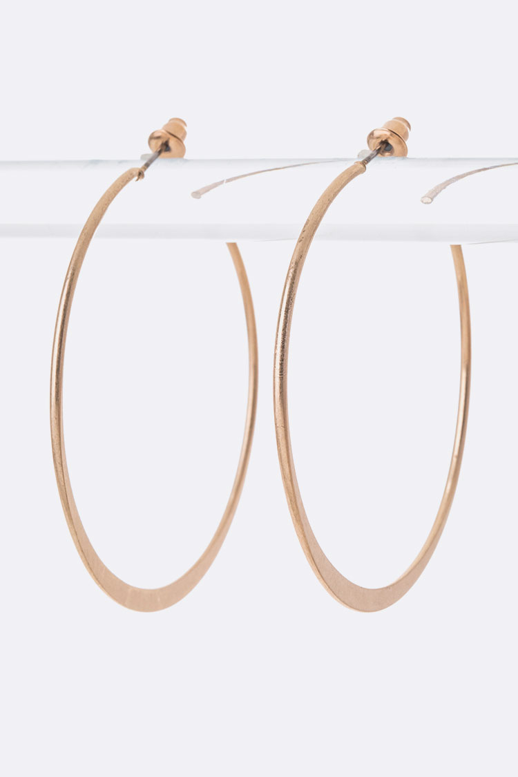 Matte Finish Classic Hoop Earrings
