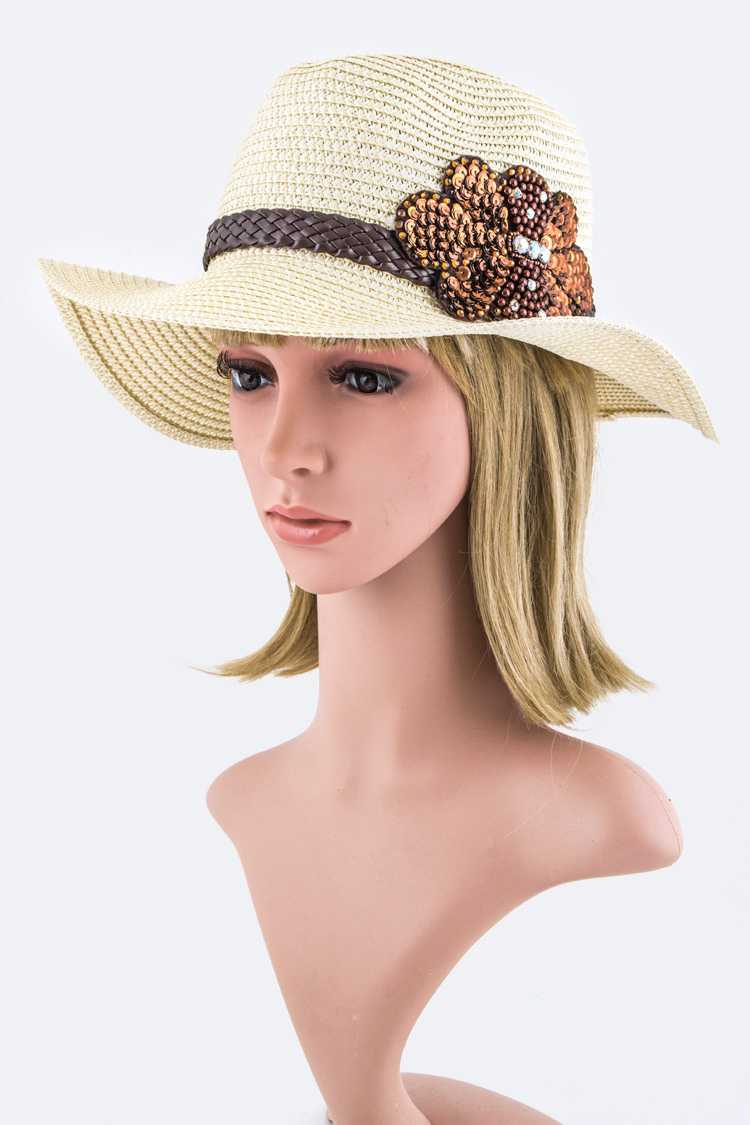 Bead& Sequins Bow Band Panama Hat