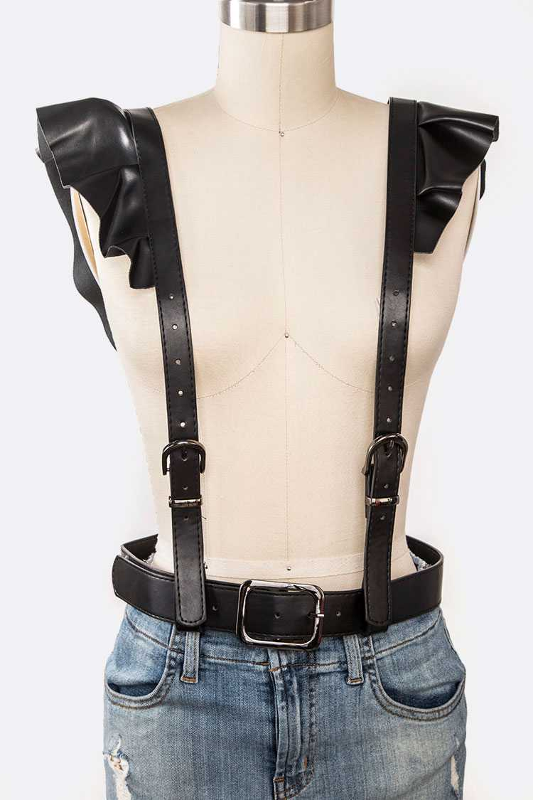 Faux Leather Ruffle Sleeve Harness Belt