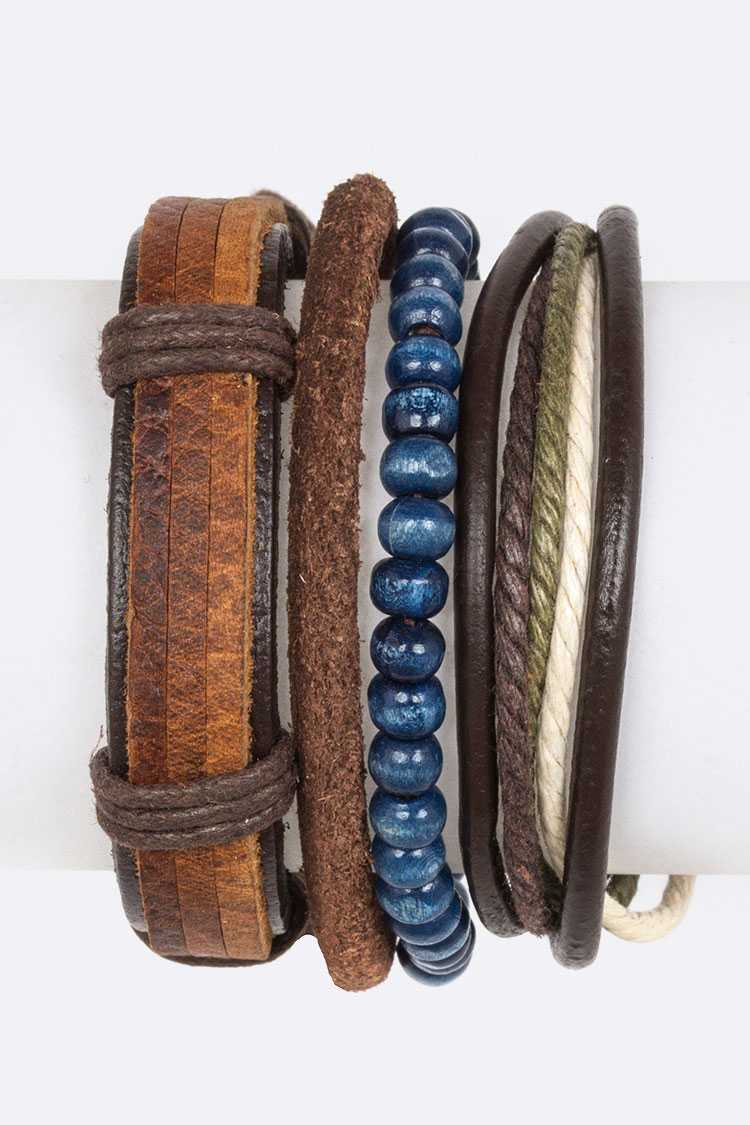 Mix Media Leather Bracelet Set