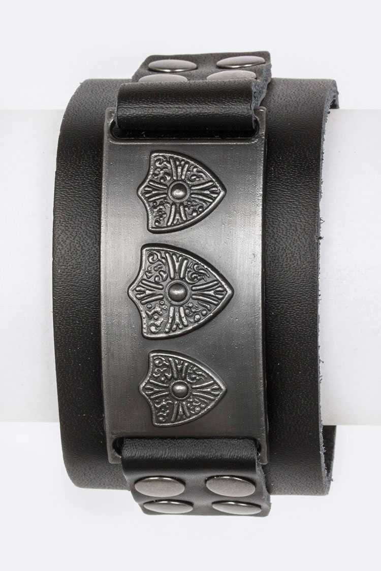 Embossed Shields Heavy Metal Cuff