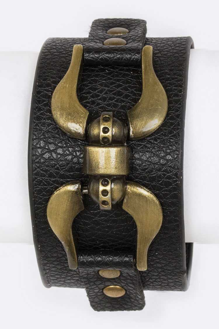 Metal Accent Leather Cuff