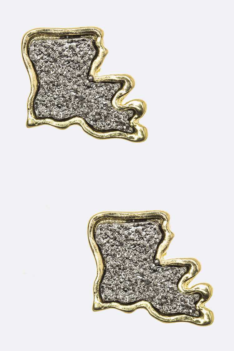 Louisiana Map Druzy Stud Earrings