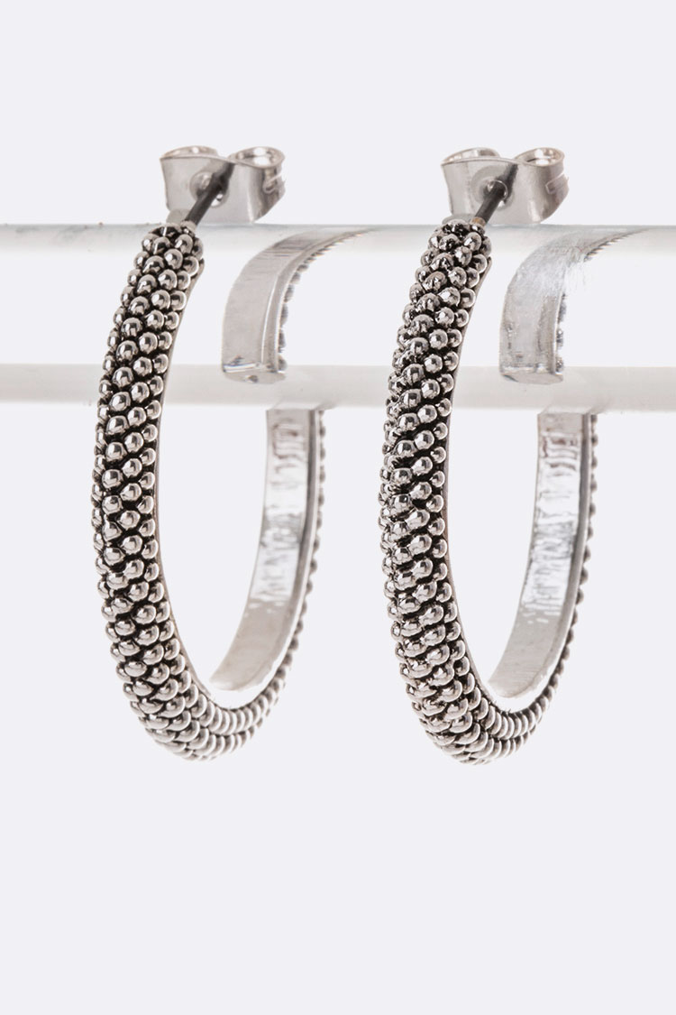 Engraved Textured Hoops