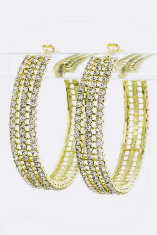 3 Row Rhinestone Hoop Earrings (L)