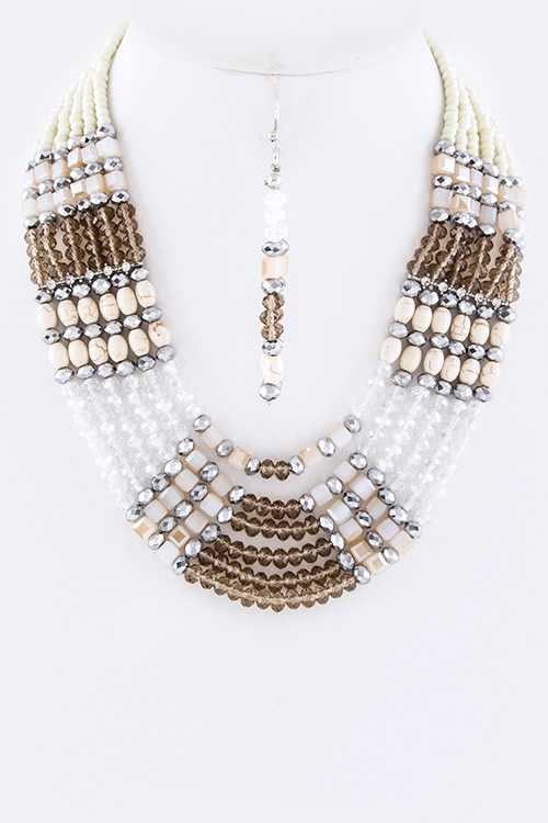 Mix Precious Beads Layered Statement Necklace Set
