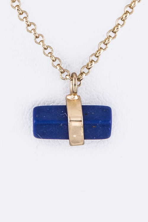 Petite Semi Precious Bar Pendant Necklace