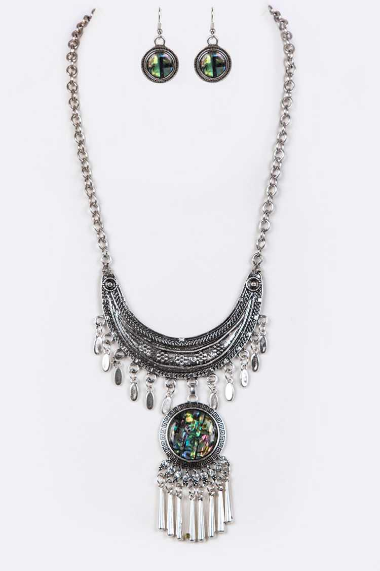 Abalone Pendant Fringe Statement Necklace Set