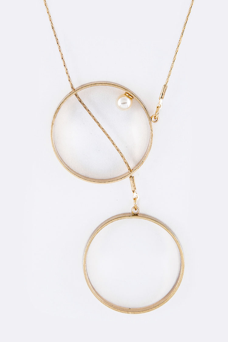 Pearl & Double Hoops Necklace