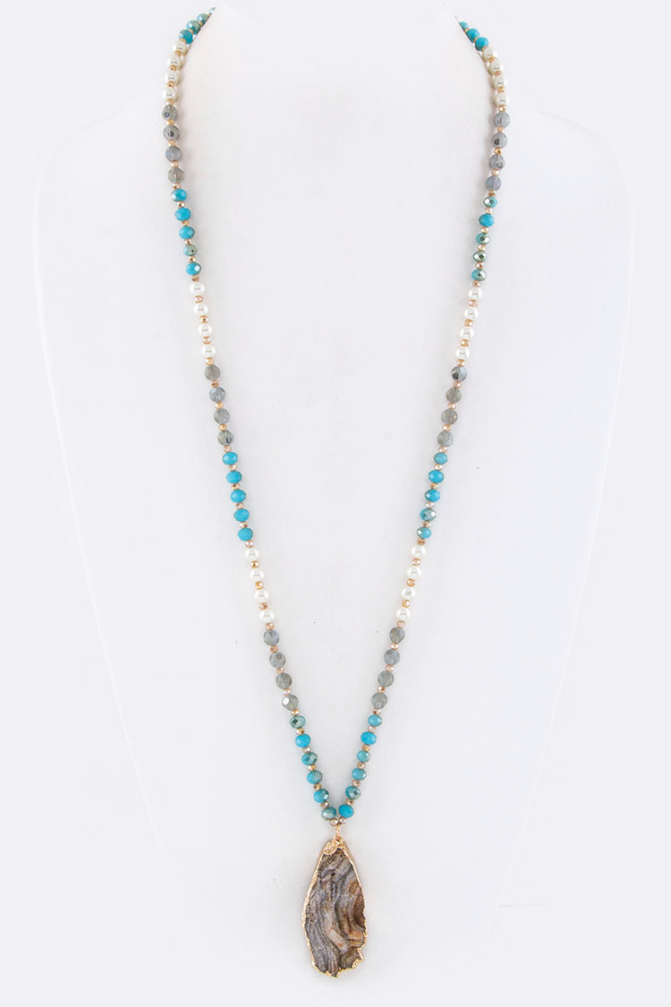 Stone Teardrop & Mix Beads Necklace
