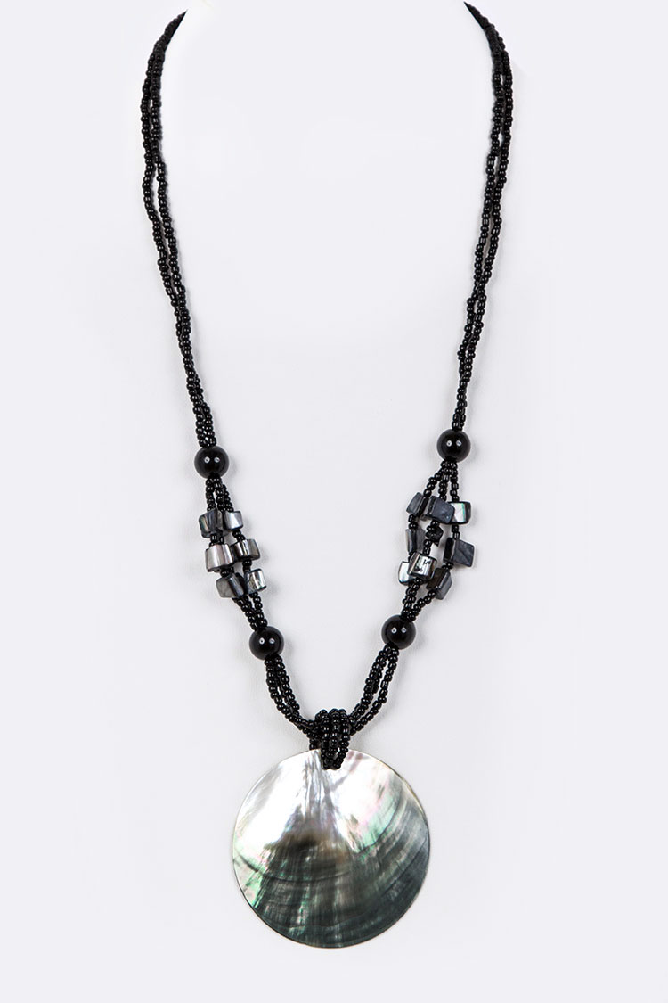 Abalone Shell Long Pendant Necklace