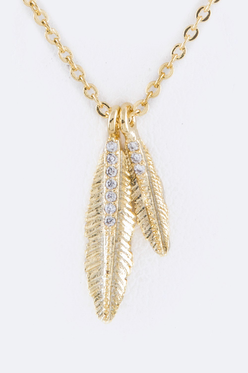 Paved CZ Feathers Necklace