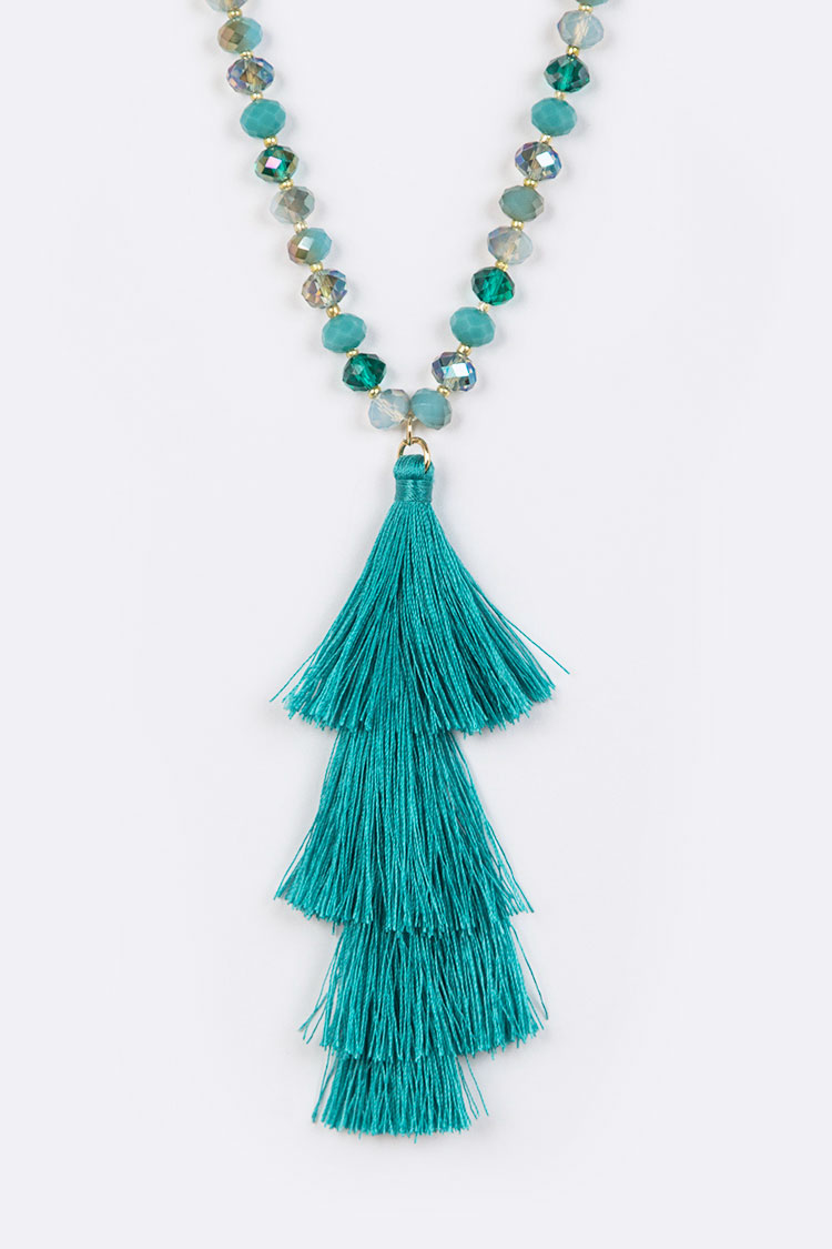 Beaded Tassel Long Necklace Set