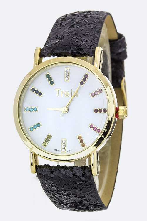Crystal Dials Glittered Band Fashion Watch