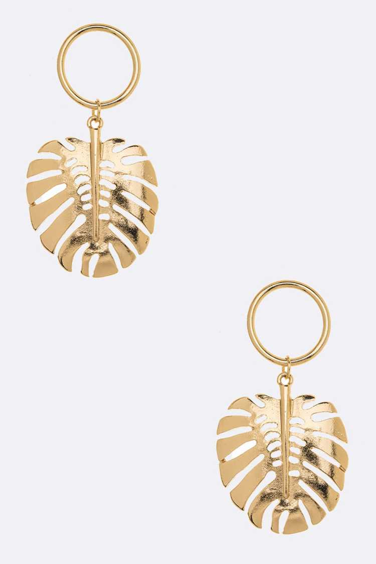 Palm Leaf Metal drop Earrings