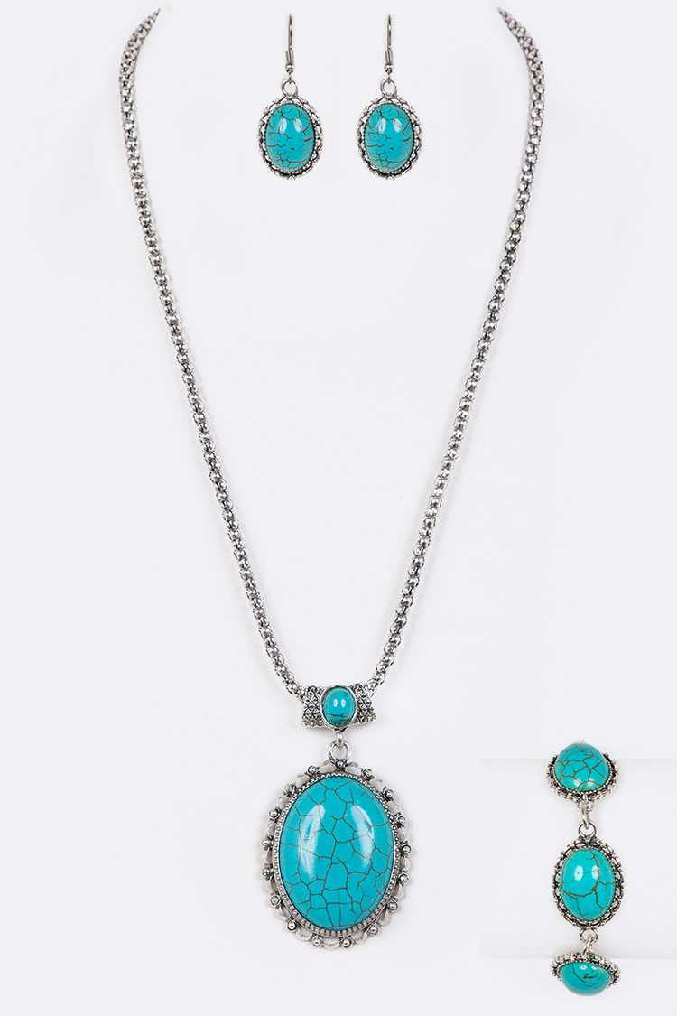 Turquoise Pendant Necklace & Bracelet Set