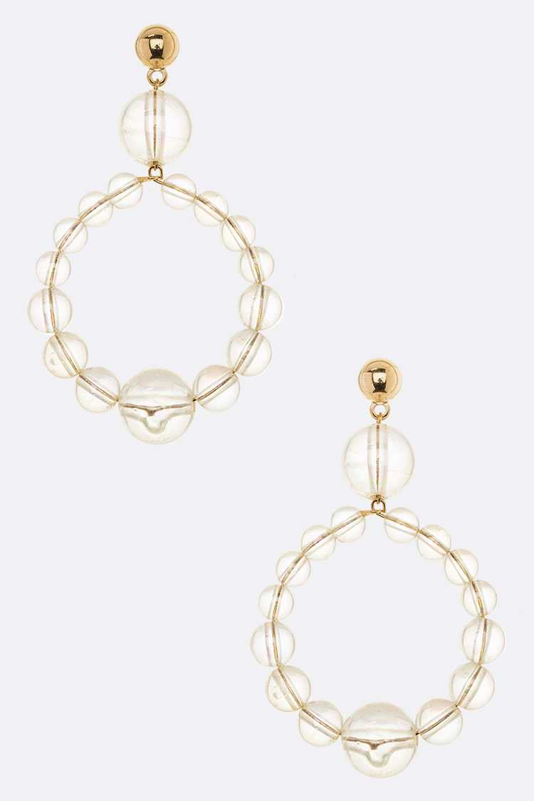 Clear Beads Bubble Drop Iconic Earrings