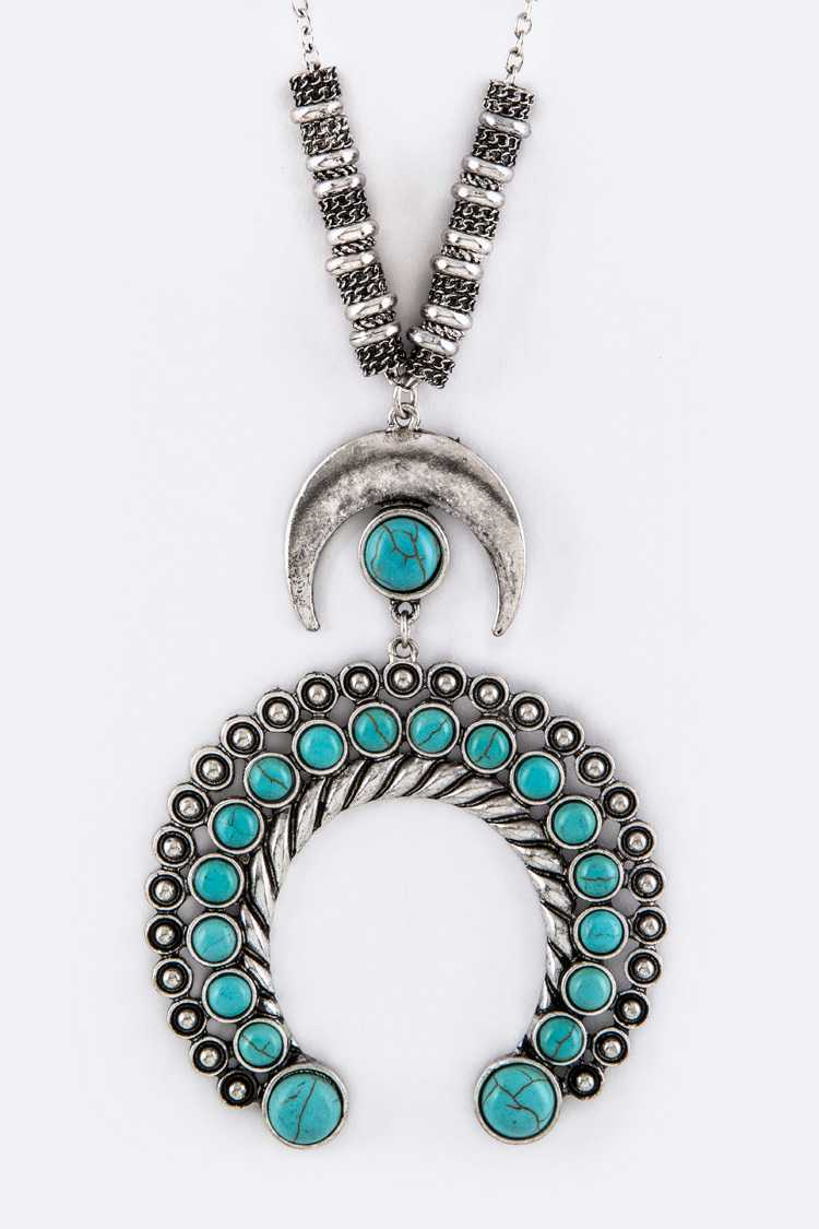 Turquoise Ornate Horn Pendant Necklace
