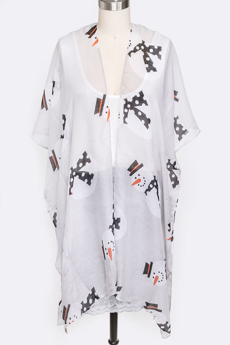 Snowman Print Sheer Long Cardigan