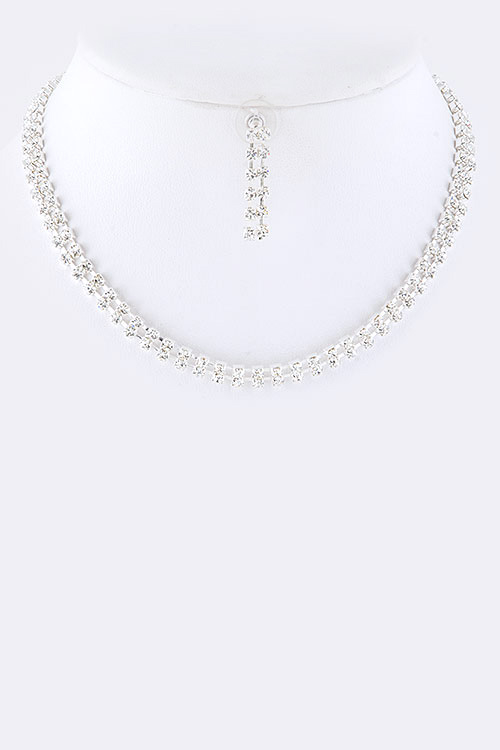 2 Row Rhinestone Collar Necklace Set