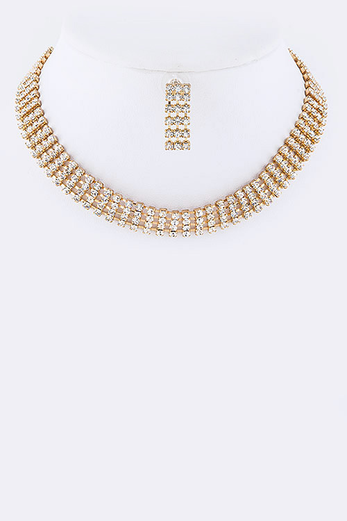 4 Row Rhinestone Collar Necklace Set