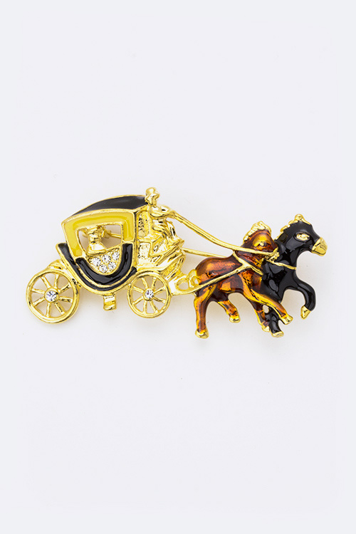 Crystal Carriages Brooch