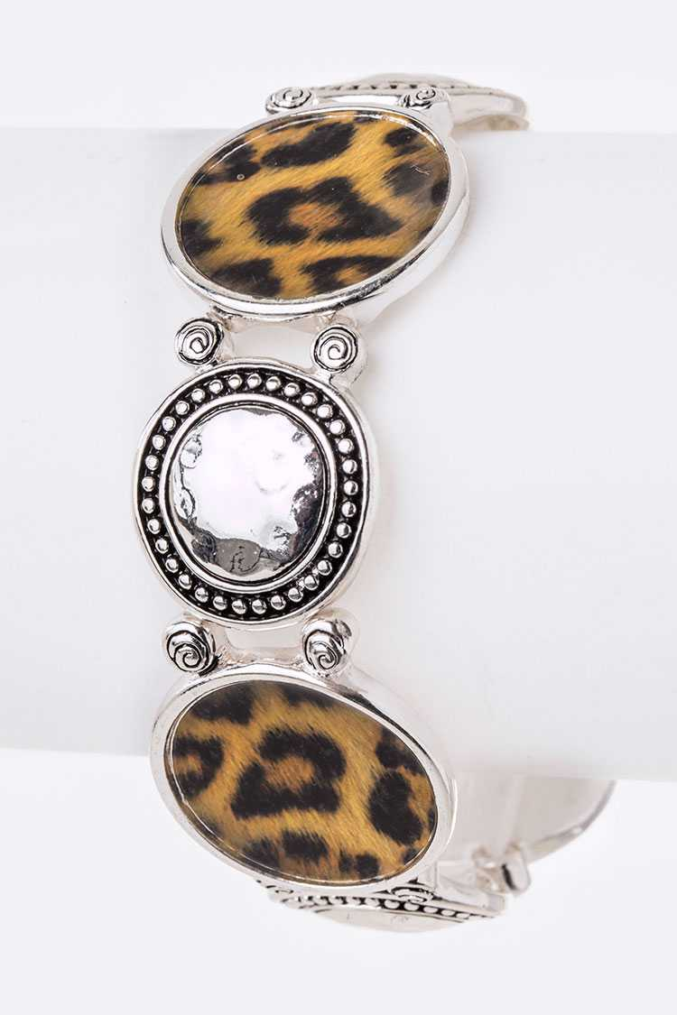 Leopard Print Mix Plate Stretch Bracelet
