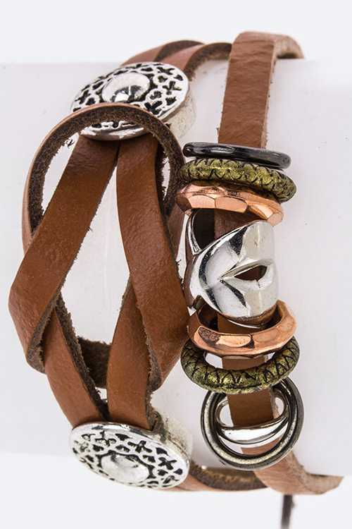 Mix Metal Hoops Genuine Leather Bracelet