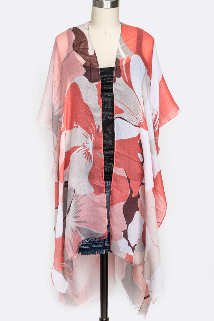 Large Floral Print Light Weight Kimono Cardigan