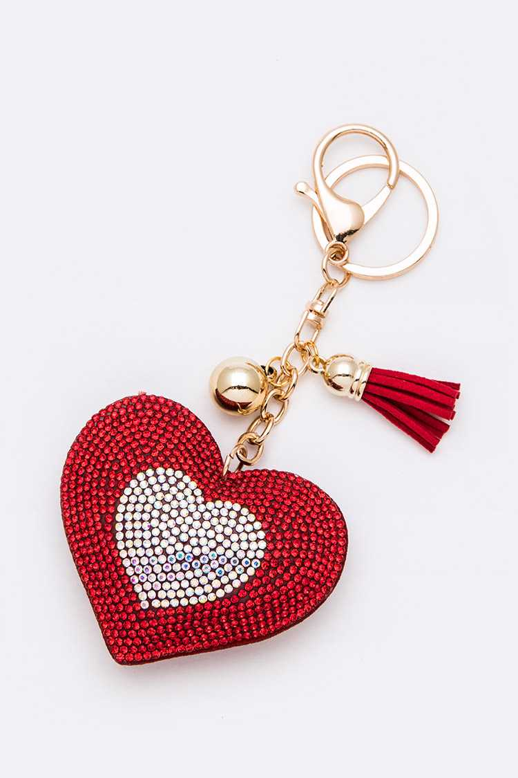 Stone Pave Puff Heart Key Chain