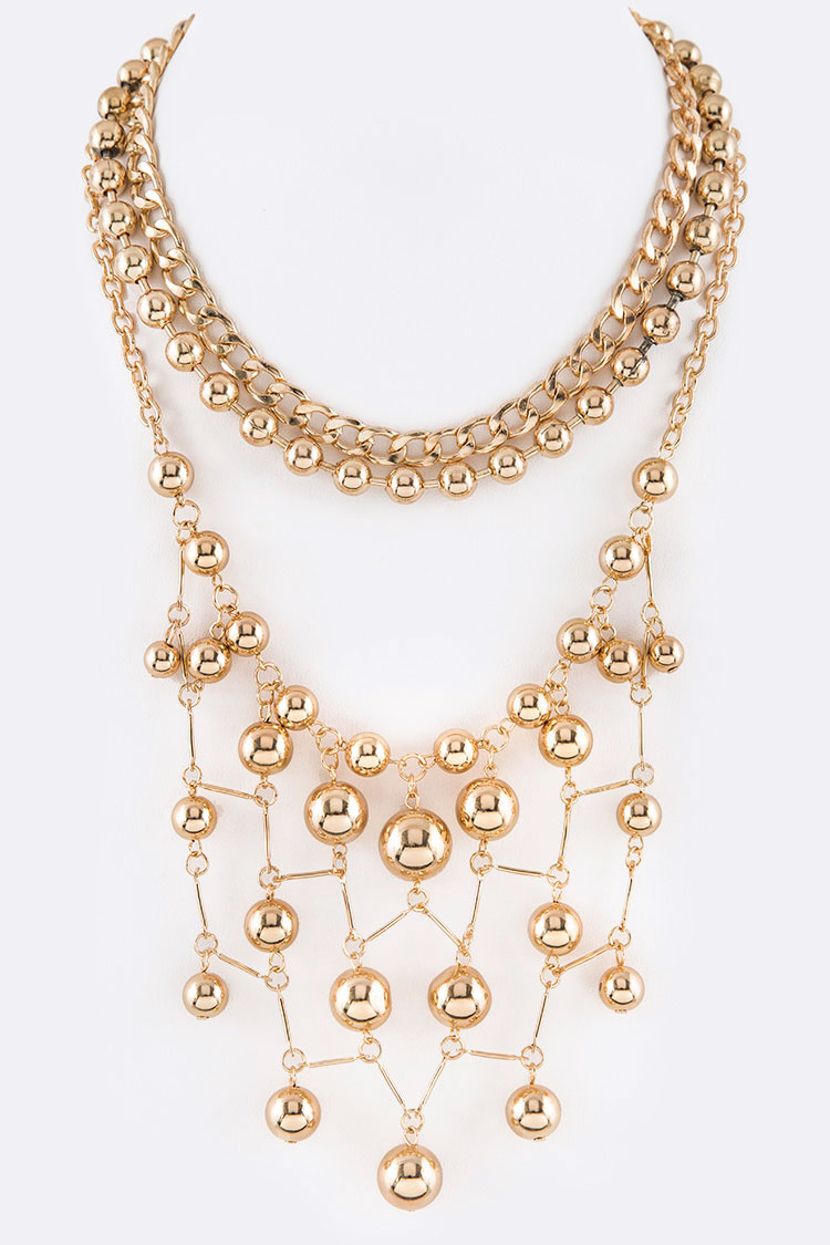 Gold Beads Fringe Chain Statement Necklace
