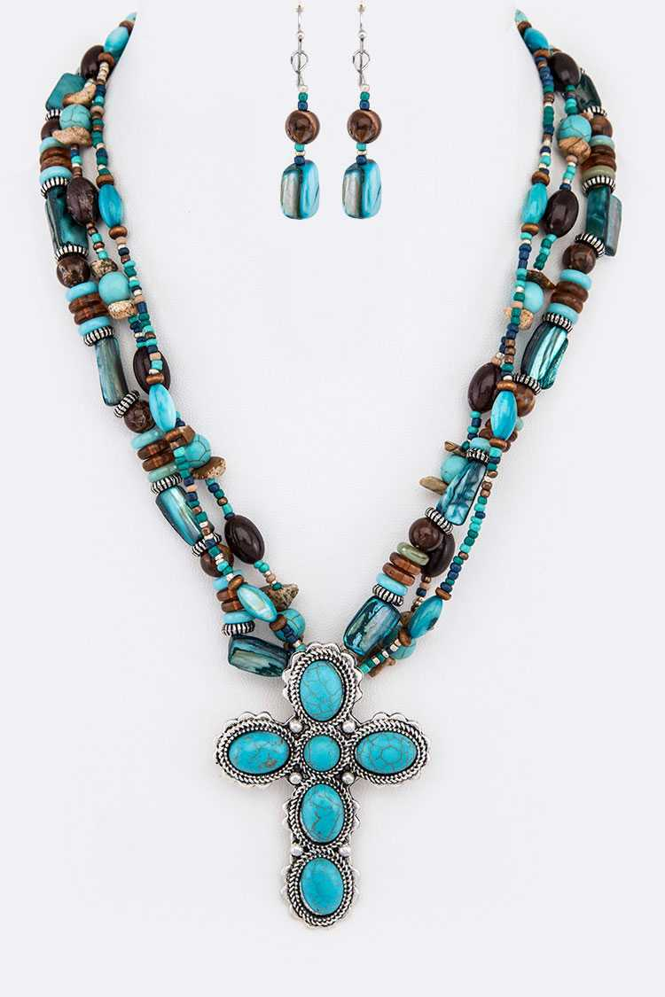 Turquoise Cross Pendant Mix Beads Layer Necklace Set