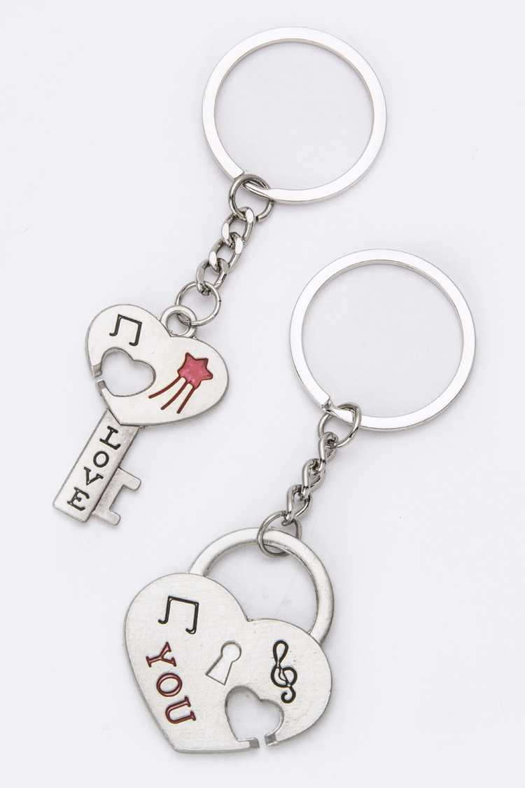 Heart Key & Lock Key Charms Set