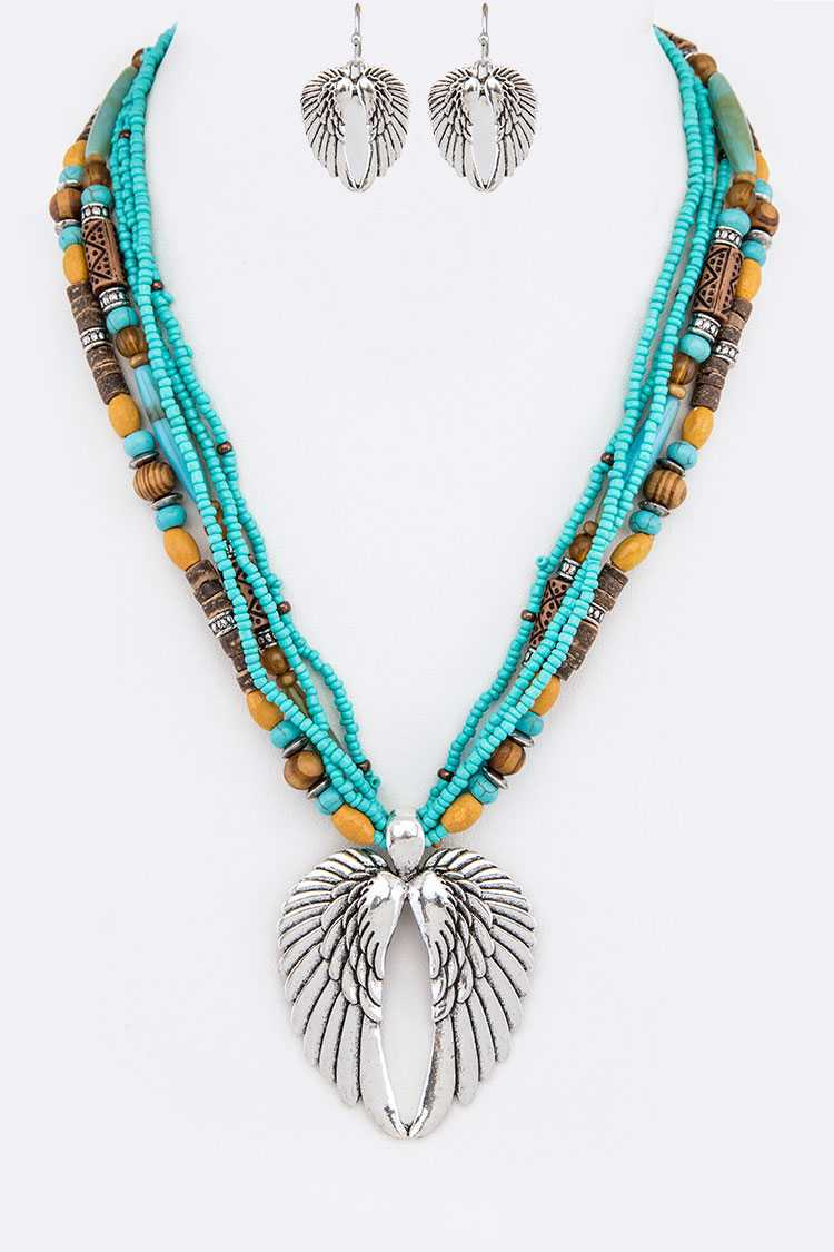 Wings Pendant Mix Beads Layer Necklace Set