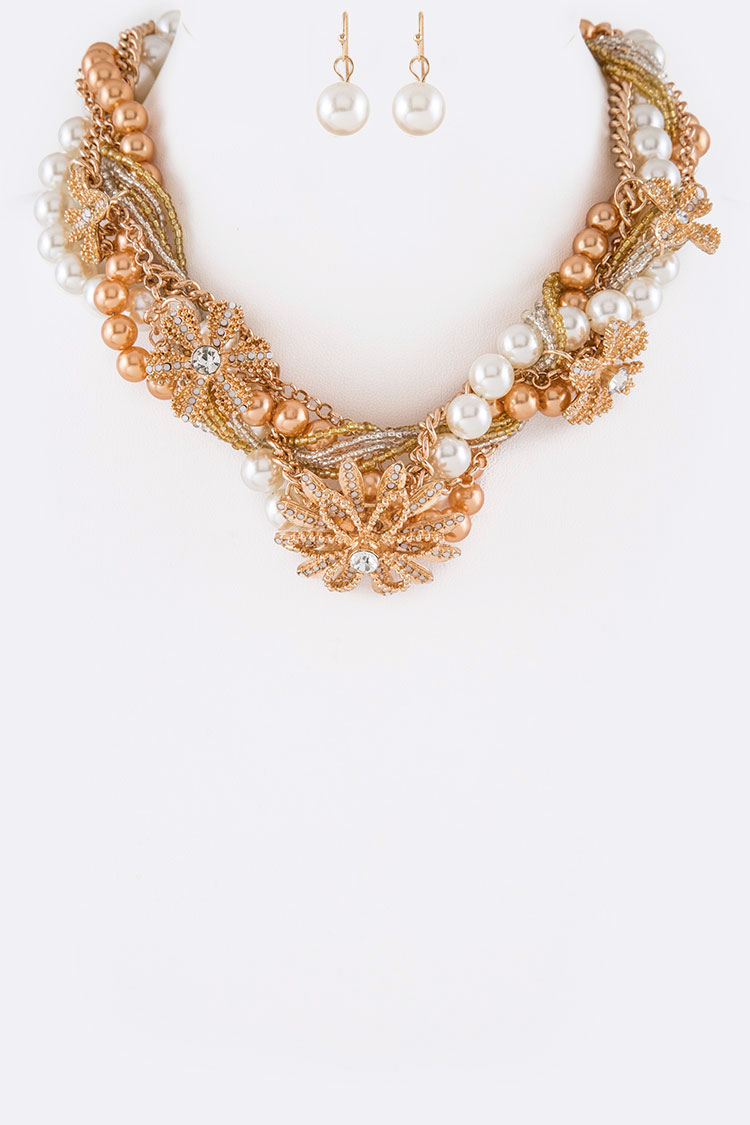 Mix Media Twist Pearl & Chain Statement Necklace Set
