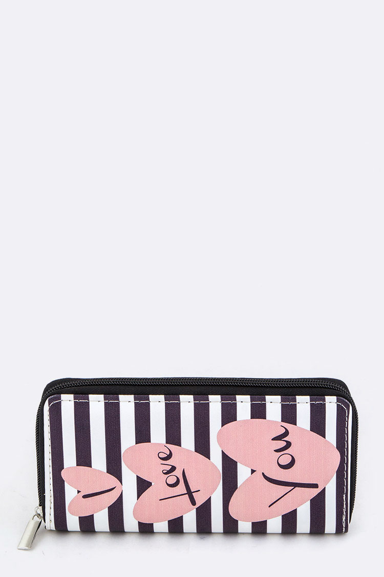 Hearts & Stripes Print Wallet