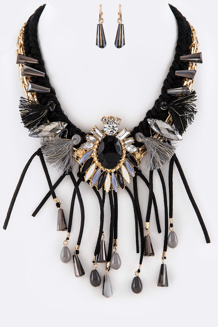 Suede Tassel Iconic Necklace Set