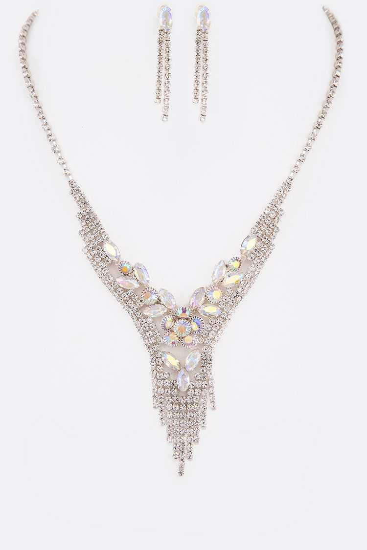 Rhinestone Flower Evening Necklace Set
