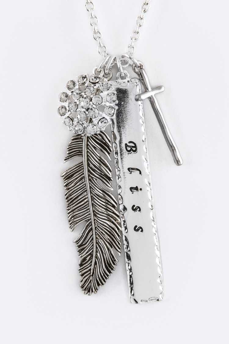 Blissed Mix Feather Charms Necklace
