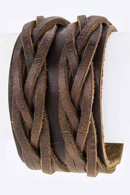Braided Layer Genuine Leather Cuff