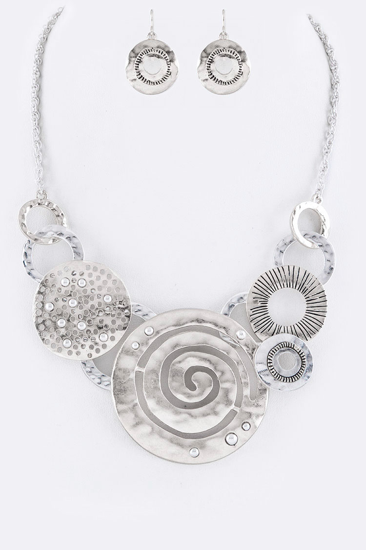 Mix Disks & Hoops Statement Necklace Set