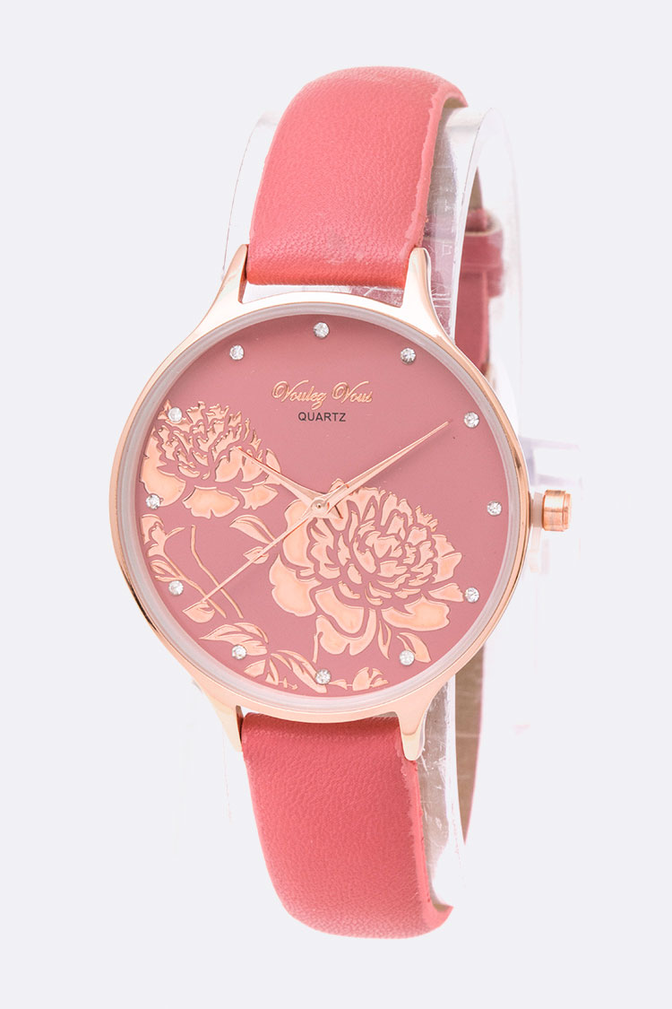 Crystal Dial Flower Stencil Iconic Watch