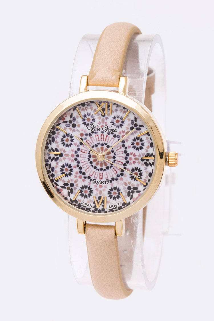 Iconic Printed Dial Skinny Band Fashion Watch