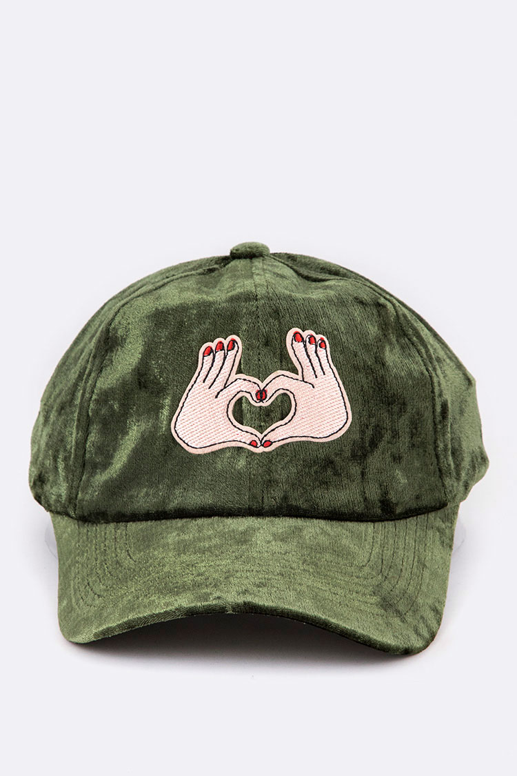 Heart Hand Sign Distress Velour Cap