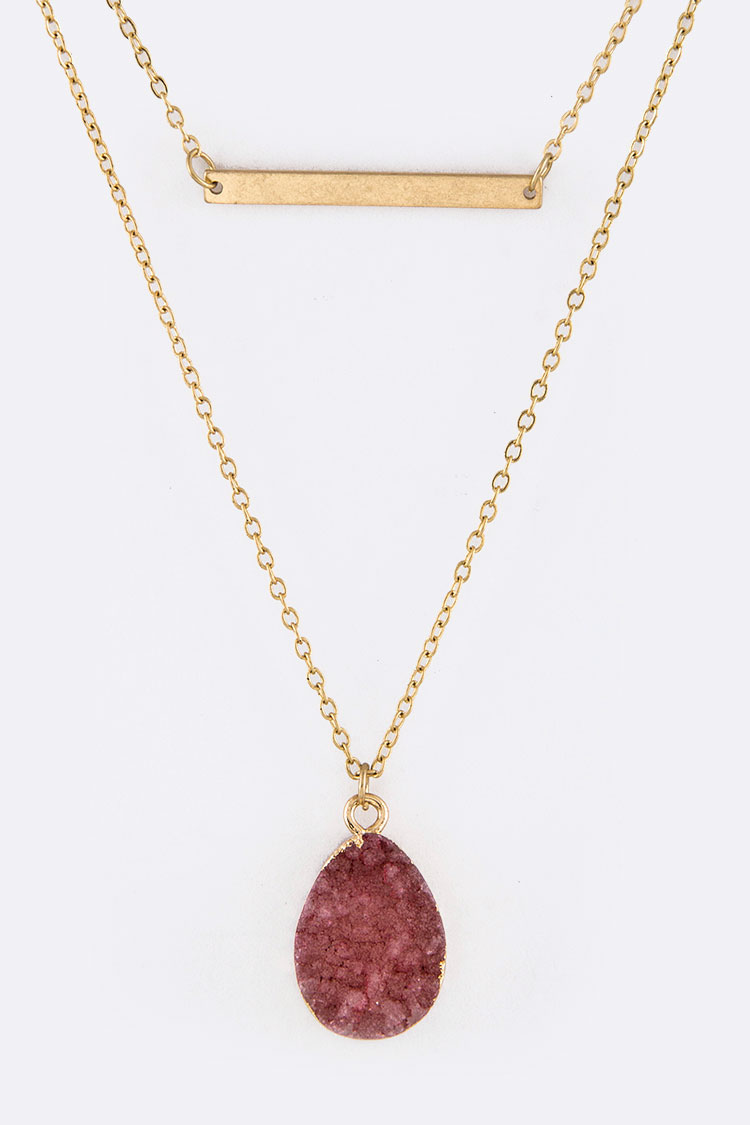Tear Drop 	Druzy Pendant Necklace