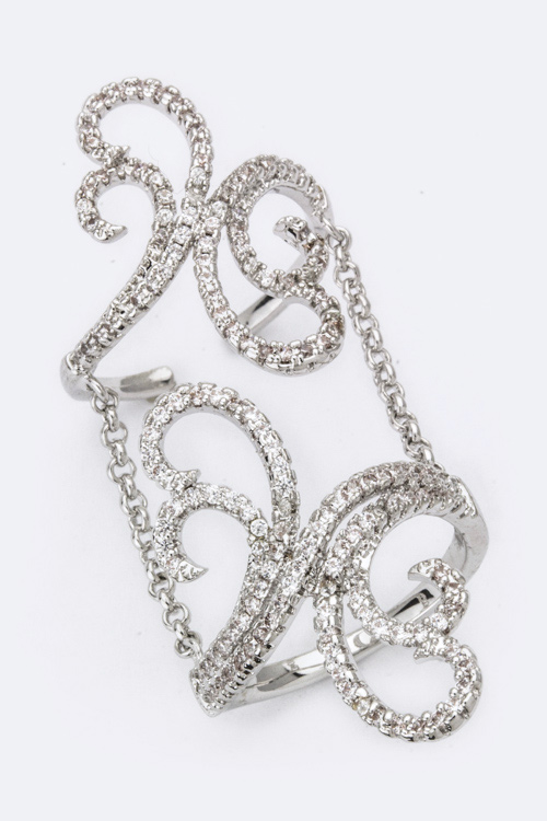 Chained CZ Swirly Ring Set