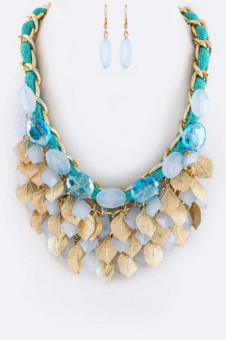Beads & Metal Leaves Statement Necklace Set